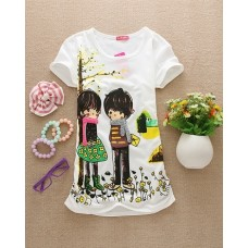 Short Sleeve Cotton Long T-Shirt (B3: Lovely Couple)