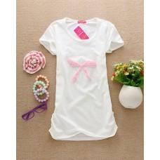 Short Sleeve Cotton Long T-Shirt (B4: Cute Ribbon)