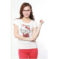 Short Sleeve Cotton Printed T-Shirt (C28: Glasses Kitty Cat)