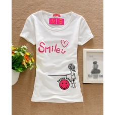 Short Sleeve Cotton Printed T-Shirt (D12: Lovely Smile)