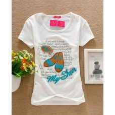 Short Sleeve Cotton Printed T-Shirt (D22: Slippers)