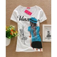 Short Sleeve Cotton Printed T-Shirt (D23: Sexy Women)