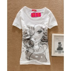 Short Sleeve Cotton Printed T-Shirt (D2: Sexy Girl)