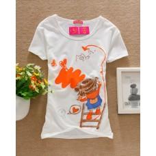 Short Sleeve Cotton Printed T-Shirt (D24: Little Girl)
