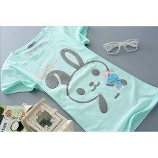 Short Sleeve Cotton Slim Cotton T-Shirt (E14: Cute Rabbit) - 4 Colours