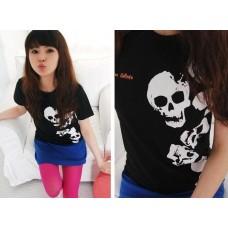 Fashion Short Sleeve Cotton Printed T-Shirt (F10: Skeleton_Head)