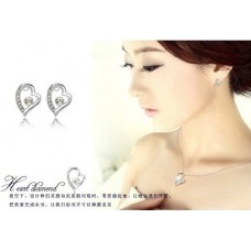 Heart Shape Rhinestone Crystal Earrings (3 Colours)