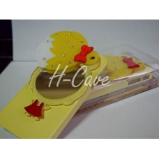 iPhone 4/4S Cute Lovely Gal Hard Case w Diamond Mirror (Yellow Colour) ~~ Screen Protector from $0.50 onward