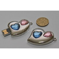 Heart Shape Blue & Pink Crystal USB flash drive - 4GB / 8GB