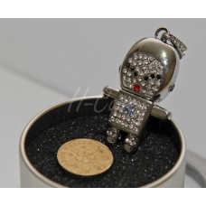 Cute Robot Shape Sliver Diamond USB flash drive - 4GB / 8GB