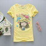 yellow, Slim, short sleeve, T-Shirt, Girl, lady t-shirt, women top, cute tshirt